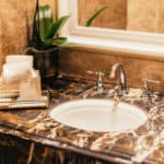 luxurious Portoro marble bathroom