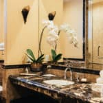 luxury hotel with marble bathroom